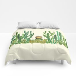 In my happy place - hedgehog meditating in cactus jungle Comforters