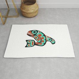 Alaska Orca Whale Haida Style Art - Native American Tribal Rug