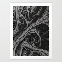 Charcoal Churn. 3d Abstract Art Art Print