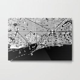 Barcelona city map black and white Metal Print
