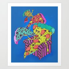 Pizza Eating Pizza - Blue Edition Art Print