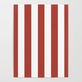 Medium carmine pink - solid color - white vertical lines pattern Poster