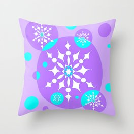 A Lavender and Aqua Snowflake Design Throw Pillow