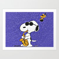 snoopy Art Prints featuring Snoopy by DisPrints