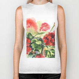 plant geranium, flowers and leaves, watercolor Biker Tank