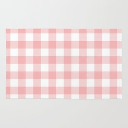 Coral Checker Gingham Plaid Rug