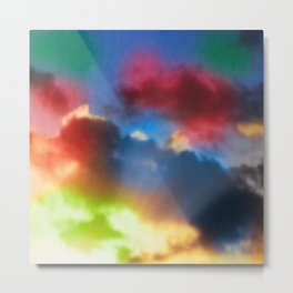 Vibrant rainbow colored clouds with sunrays Metal Print