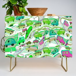 Green Cars All Over Credenza