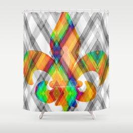 Fleur De Lis Diamond Pattern Shower Curtain