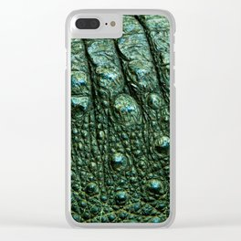 Green Alligator Leather Print Clear iPhone Case