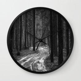 Winter pine forest Wall Clock