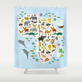 Animal Africa: parrot Hyena Rhinoceros Zebra Hippopotamus Crocodile Turtle Elephant Mamba snake Shower Curtain