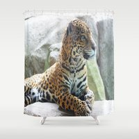 jaguar Shower Curtains featuring Jaguar by NaturallyJess