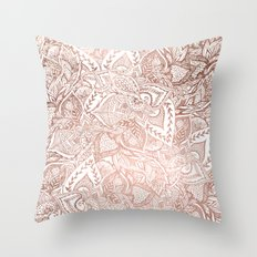Chic hand drawn rose gold floral mandala pattern Throw Pillow