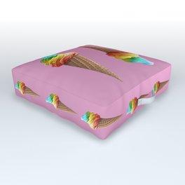 Rainbow ice cream Outdoor Floor Cushion
