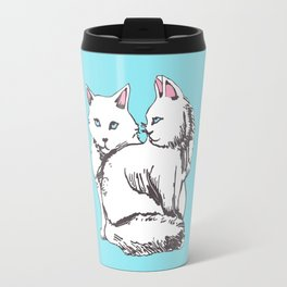 White Maine Coon Cats with Light Blue Travel Mug