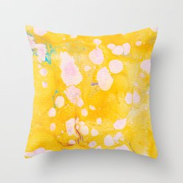 speckled marble | yellow Throw Pillow
