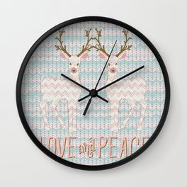 Love and Peace Knitting Deer Winter Christmas Art Wall Clock