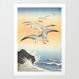 Japanese Seagull Woodblock Print by Ohara Koson Art Print