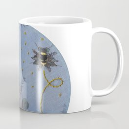 Embroidered Ghostly Bee With Anthotype Cicada Coffee Mug