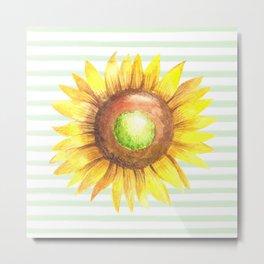 Sunflower Stripe Metal Print