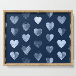 Denim Patch Boro Embroidery Hearts Serving Tray