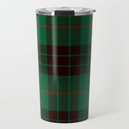 Dark Green Tartan with Black and Red Stripes. Large-Scale Plaid Pattern. Travel Mug