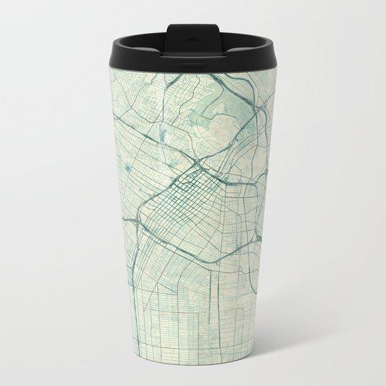 Los Angeles Map Blue Vintage Metal Travel Mug