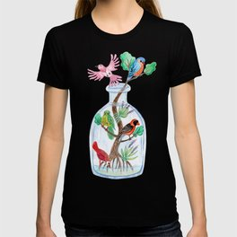 Birds in a Bottle Watercolor Painting T-shirt