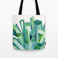 emerald Tote Bags featuring Emerald Watercolor by Cat Coquillette