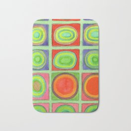 Green Grid filled with Circles and intense Colors Bath Mat