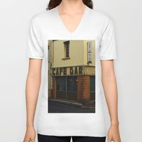 "60s V-neck T-shirts featuring Vintage Cafe Bar ""Tout va Bien"" 60s  by Premium"