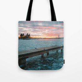 Icy Harbor Sunset Tote Bag