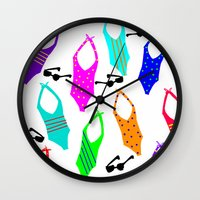 suits Wall Clocks featuring Bathing Suits by Whatcha-McCall-it