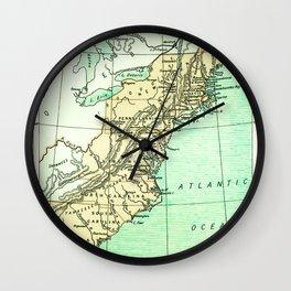 Vintage American Colonies Map - 1775 Wall Clock