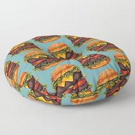 Double Cheeseburger Pattern Floor Pillow