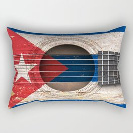 Old Vintage Acoustic Guitar with Cuban Flag Rectangular Pillow