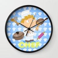 chef Wall Clocks featuring Chef by Alapapaju