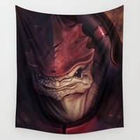 mass effect Wall Tapestries featuring Mass Effect: Urdnot Wrex by Ruthie Hammerschlag