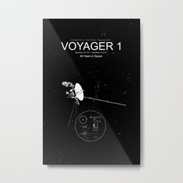 Voyager 1-Humanity's Farthest Spacecraft-40 Years in Space Metal Print
