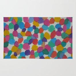 Rainbow Dots Abstract Watercolor Art Rug