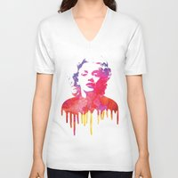 marilyn V-neck T-shirts featuring Marilyn by Fimbis