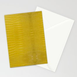 Yellow Alligator Leather Print Stationery Cards