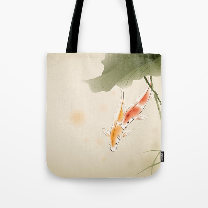 Koi fishes in lotus pond Tote Bag
