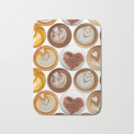 Latte Polka Dots in White Bath Mat