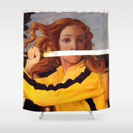Botticelli's Venus & Beatrix Kiddo in Kill Bill Shower Curtain