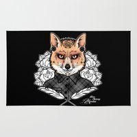 mr fox Area & Throw Rugs featuring Mr Fox by Miss Cherry Martini