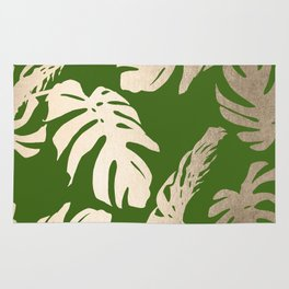 Palm Leaves White Gold Sands on Jungle Green Rug