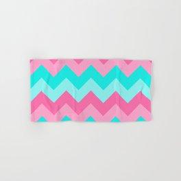 Hot Pink Turquoise Aqua Blue Chevron Zigzag Pattern Print Hand & Bath Towel