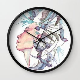 Flock of Sparrows Wall Clock